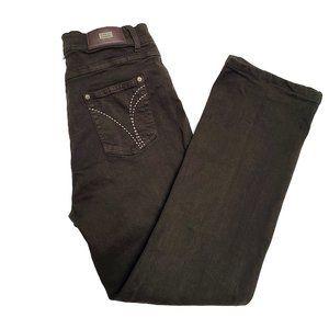 SIMON CHANG High Rise Dark Brown Jeans 12
